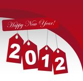 2012 new year. 2012 happy new year with red wave, background. vector Stock Photography