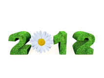 2012 new year. The number 2012 in grass texture with a daisy flower royalty free illustration