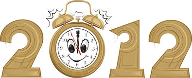 2012 - new year and alarm clock Stock Image