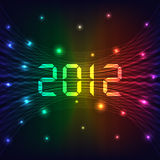 2012 New year background. 2012 Happy new year celebration background with neon lights style 2012 text. Glowing lights on dark background stock illustration