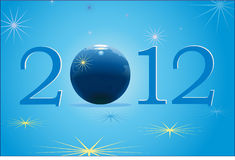 2012 New Year with blue globe. Symbols of 2012 New Year with blue globe Stock Images