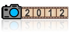 2012 New Year camera. The 2012 New Year camera with  35mm film, vector Stock Photos