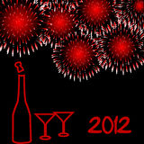 2012 New Year card. With fireworks stock illustration