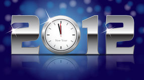 2012 New Year Card. Shining metal digits with clocks instead of number zero Stock Photos