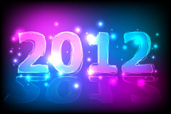 2012 New Year Card. Neon lights shining in the dark with reflection Royalty Free Stock Images