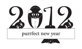Free 2012 New Year Card - Cats Instead Of Digits Stock Images - 21837614