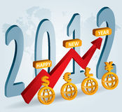 2012 - New Year celebration. Financial background for poster and flayer stock illustration