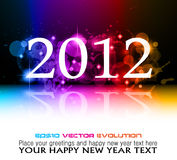 2012 New Year celebration background. For cover, Flyer or poster with glitter elements and rainbow colours Vector Illustration