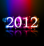 2012 New Year celebration background. For cover, Flyer or poster with glitter elements and rainbow colours Stock Images