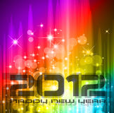 2012 New Year celebration background. For cover, Flyer or poster with glitter elements and rainbow colours Stock Photos