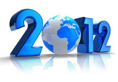 2012 New Year concept. Creative 2012 New Year concept with blue Earth globe isolated on white reflective background Royalty Free Stock Images