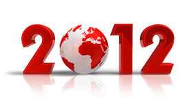 2012 New Year concept. Creative 2012 New Year concept with red Earth globe isolated on white reflective background Royalty Free Stock Images