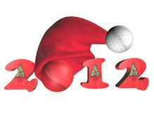 2012 New year Concept in 3D. With funny hat Royalty Free Stock Photography