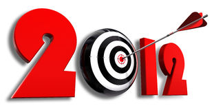 2012 new year and conceptual target. With arrow in white background Stock Photography