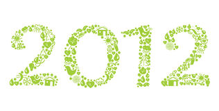 2012 new year ecological sign. Green Royalty Free Stock Images