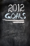 2012 New year goals. Written on a blackboard Royalty Free Stock Photography