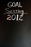 2012 New year goals. Written with chalk on a blackboard Stock Photography