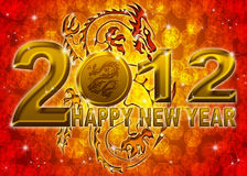 2012 New Year Golden Chinese Dragon Illustration. 2012 Happy New Year Golden Chinese Dragon on Blurred Background Stock Photos