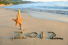 2012 new year message on the sand Stock Photo