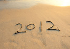 2012 new year message on the sand Royalty Free Stock Images