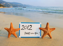 2012 new year message on the sand Royalty Free Stock Image