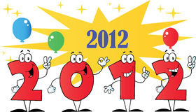 2012 New year numbers. Cartoons with stars and balloons Royalty Free Illustration