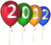 2012 New Year party balloons multicolor Stock Photography