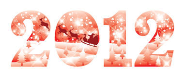2012 new year red banner Stock Photos