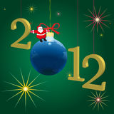 2012 New Year symbols  with Santa Claus and green Stock Photo