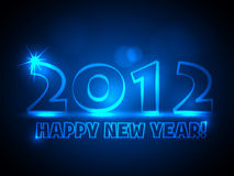 2012 New Year Vector Card. 2012 - Vector New Year Card - Blue Neon Lights Royalty Free Stock Photos