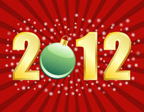 2012 New Years or Christmas Background. On a radial starburst Stock Photo