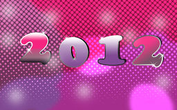 2012 New years eve decoration. New years eve decoration with the number 2012 on a pink dotted background Stock Image