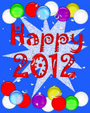2012 new years poster. Happy 2012 poster with balloons and confetti illustration vector illustration