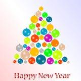 2012 Nieuwe jaarachtergrond met de ballen van de Kerstmisboom Stock Fotografie