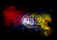 2012 on night sky. Witk galaxy and stars Royalty Free Stock Image
