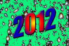 2012 number. Happy new year 2012 typo created with the help of photoshop Stock Photography