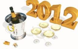 2012 nuovi anni con Champagne Fotografie Stock