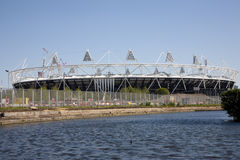 2012 Olympic Previews. Preview images for the London 2012 Olympic games. A General view of the main stadium with the River Lea in the foreground Stock Photography