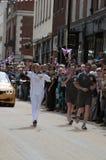 2012 Olympische Vlam - het Relais van de Toorts Stock Fotografie