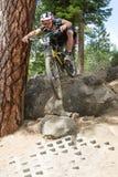 2012 Oregon Enduro Series Race #1: Bend, OR. Professional rider Ben Cruz from Novato, CA attacks the rock drop during the the 2012 Oregon Enduro series race #1 Royalty Free Stock Photography