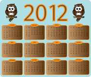 2012 owl calender Royalty Free Stock Photo