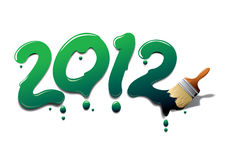 2012 paint brush. Painting 2012 New year by brush Stock Illustration