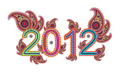 2012 with paisley. New year 2012 with paisley design Royalty Free Stock Image