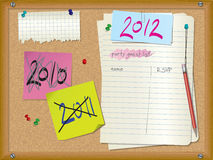 2012 party invitation. Cork board with party guest list, notes, pushpins, torn paper and pencil Stock Images