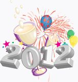 2012 Party theme. Vector / Clip Art. An image of the number 2012 with a party themed background royalty free illustration