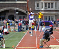 2012 Penn Relays - long jump flight Stock Images