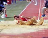 2012 Penn Relays - long jump landing Stock Photos