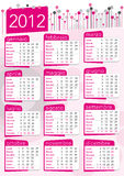 2012 pink calendar in italian. 2012 pink calendar for girls, vintage seventies style in italian Stock Photos