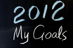2012 plans. Chalkboard drawing - 2012 new year plans Royalty Free Stock Images