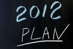 2012 plans. Chalkboard drawing - 2012 new year plans Stock Photography